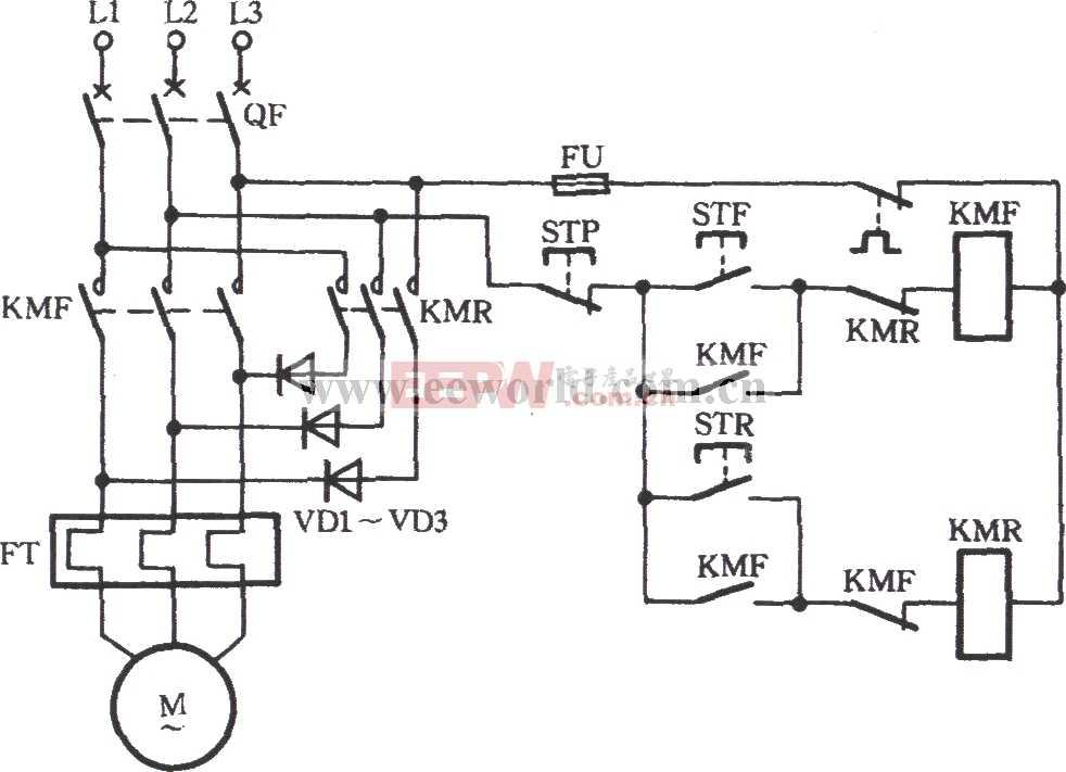 三相电动机Y接低速反向运行兼制动电路
