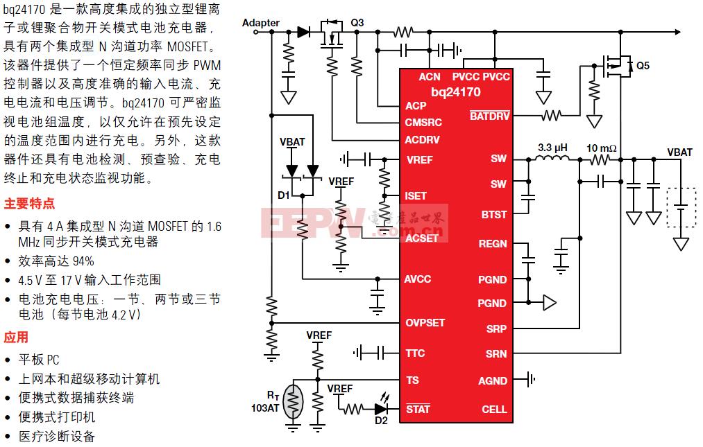 bq24610电池充电管理典型应用