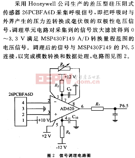 基于MSP430睡眠呼吸暫停監護儀的設計-信號調理電路圖