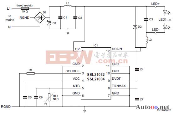 SSL21082、SSL21084降压转换器配置图