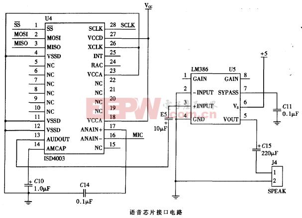 ISD4003语音芯片接口电路