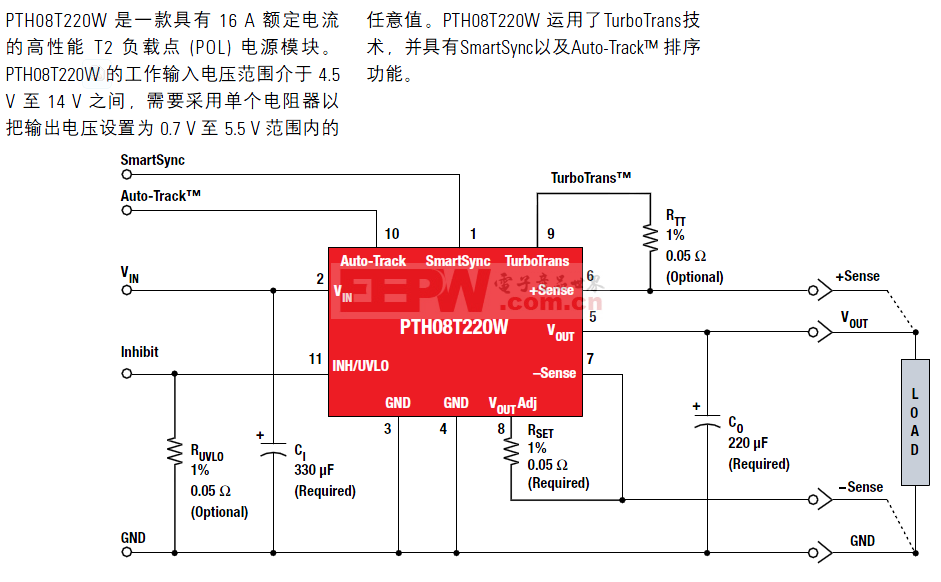 PTH08T220典型应用