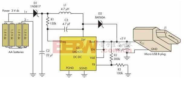 用5号AA电池做的USB手机充电器 D23b771627efe9d7ddc5be3417d12036