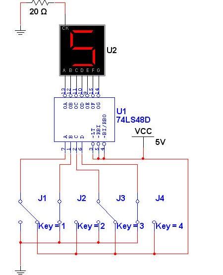 multisim中74ls48如何连接驱动共阴极数码管才能有显示?