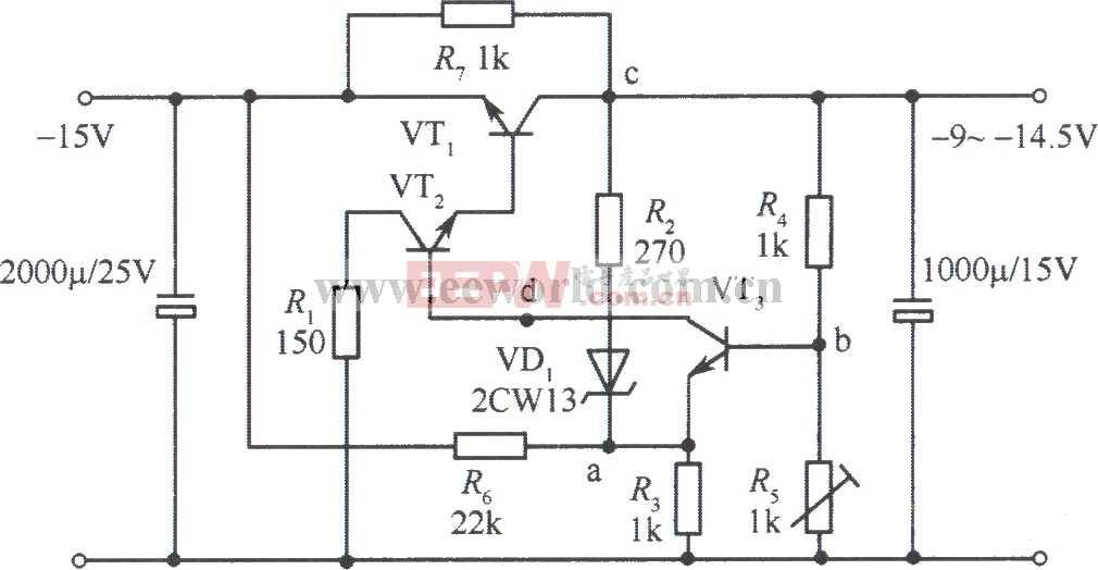 -9~-l4.5v集电极输出稳压电源电路