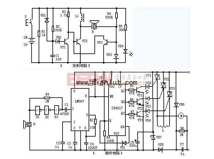 超声波遥控电路原理图