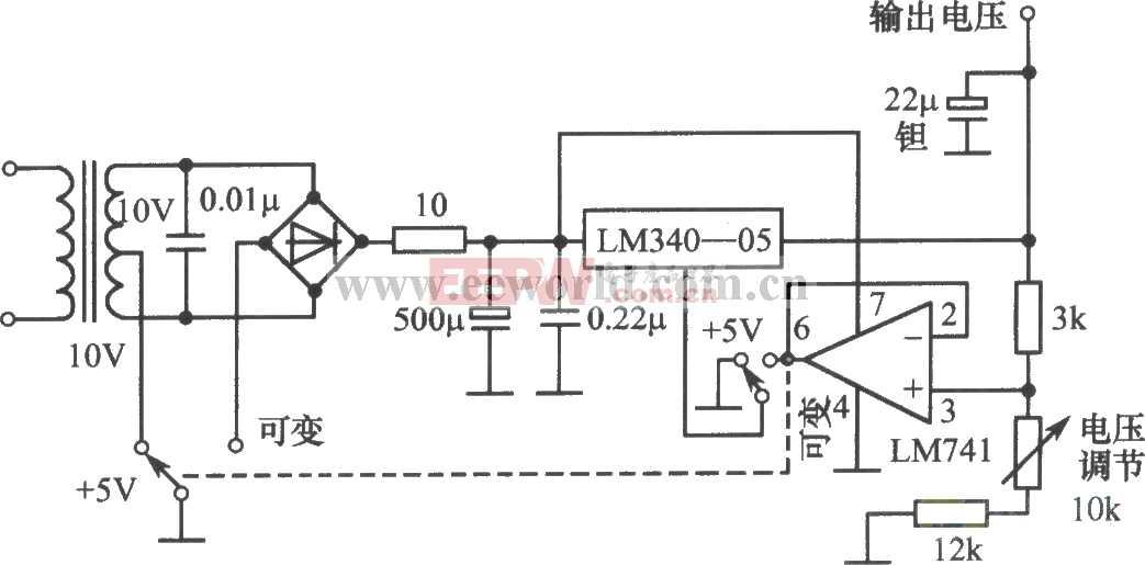 LM340-05构成的恒压和可调两用稳压电源