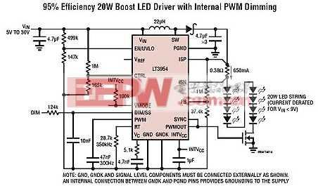 LT3954 - 具内部 PWM 发生器的 40VIN LED 转换器