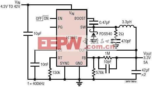 4.3V~ 42VIN 至 3.3V/5A 输出的降压型转换器
