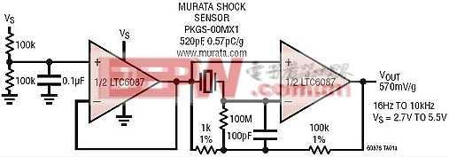 单电源冲击 / 振动传感器放大器