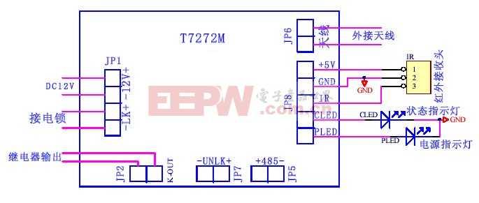T7272M门禁控制器外围接线图