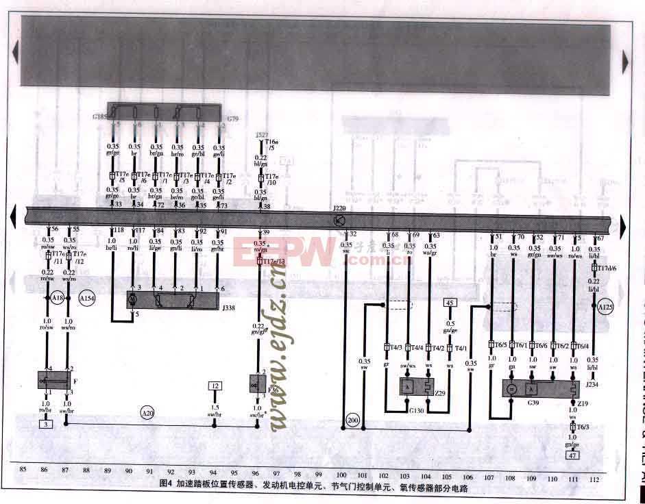 加速踏板位置传感器,发动机电控单元,节气门控制单元,氧传感器部分电路图