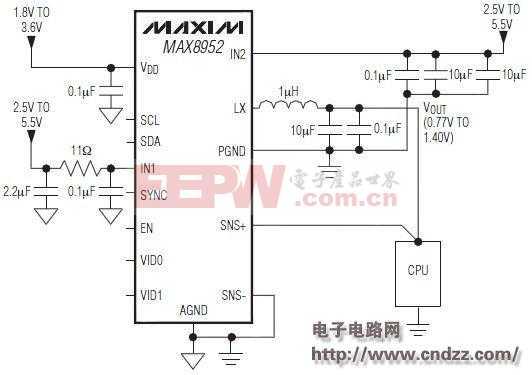 MAX8952 平板电脑用2.5A降压型调节器应用电路