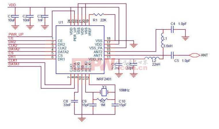 nRF24L01模块电路