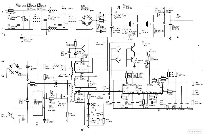 led可调输出电压驱动电源电路图(1000w)