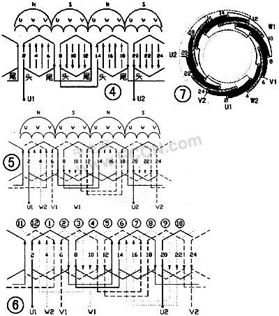 24槽三相电机绕线圈图解