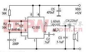 使用555做的数字功放电路图