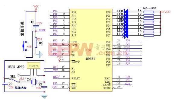 8路LED跑马灯电路图