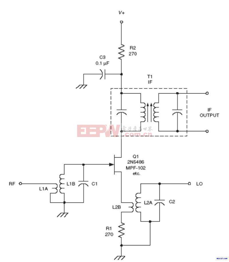 射频Mixer电路:JFET mixer RF circuit