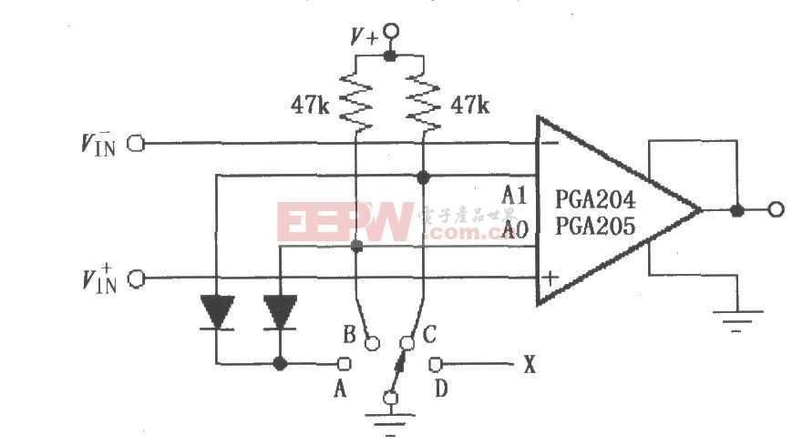 PGA204/205开关选择可编程增益电路