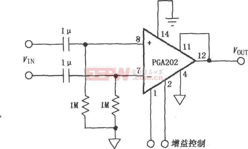 交流耦合差动放大器 PGA202