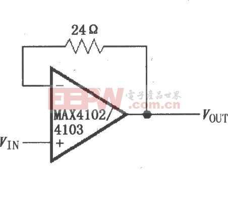 由MAX4102/4103构成的单位增益缓冲器电路图
