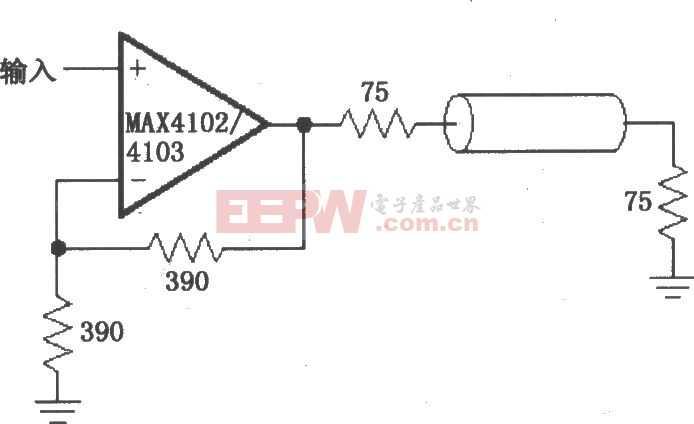由MAX4102/4103构成的视频/射频分配放大电路图