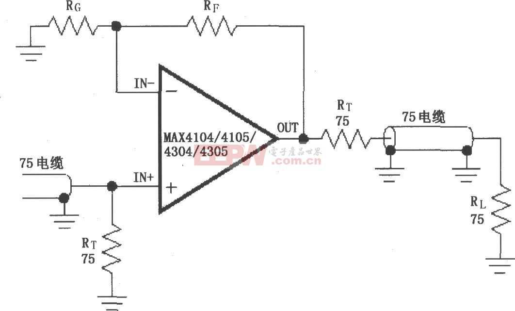 由MAX4104/4105/4304/4305构成的视频电缆驱动放大电路图