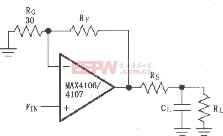 由MAX4106/4107构成的驱动电容性负载电路图