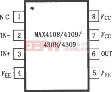 MAX4108/4109/4308/4309 极低失真运算放大器电路