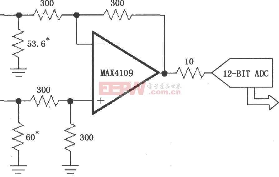 由MAX4109构成的同相增益放大电路图