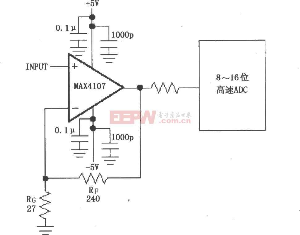 由MAX4107構成的同相增益電路圖