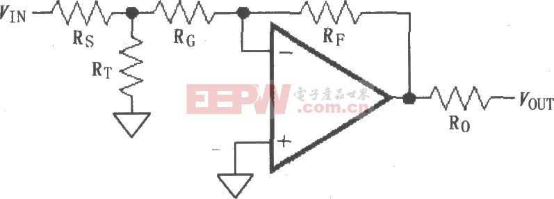 由MAX4180~MAX4187構成的反相增益電路圖