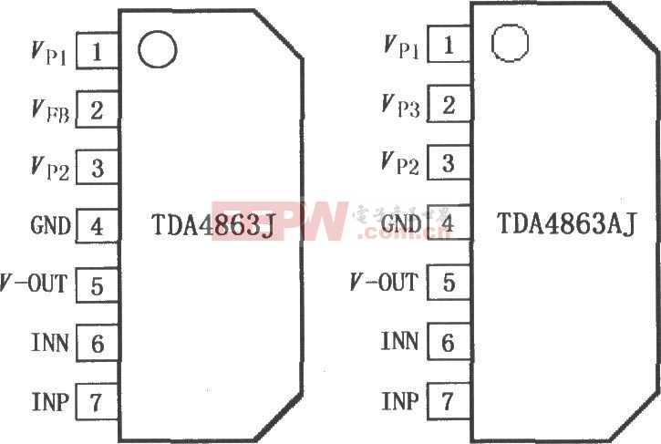 垂直偏转放大器TDA4863J/4863AJ引脚