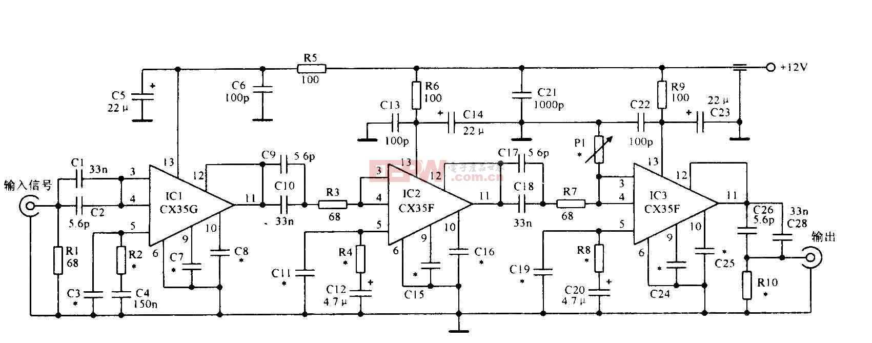 600MHz寬帶放大電路圖