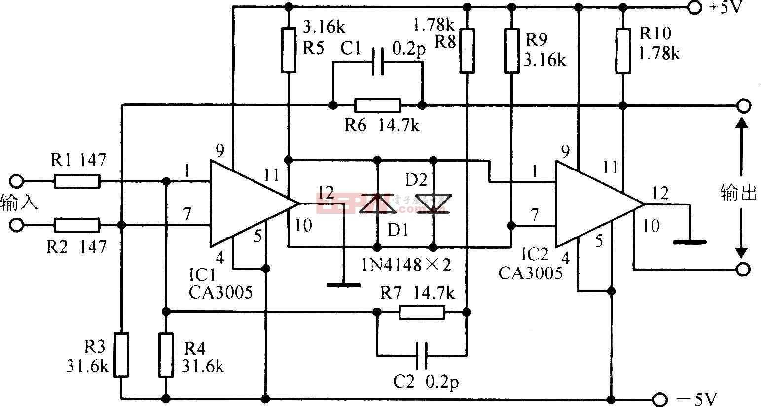 频宽为20MHz的差分放大电路图