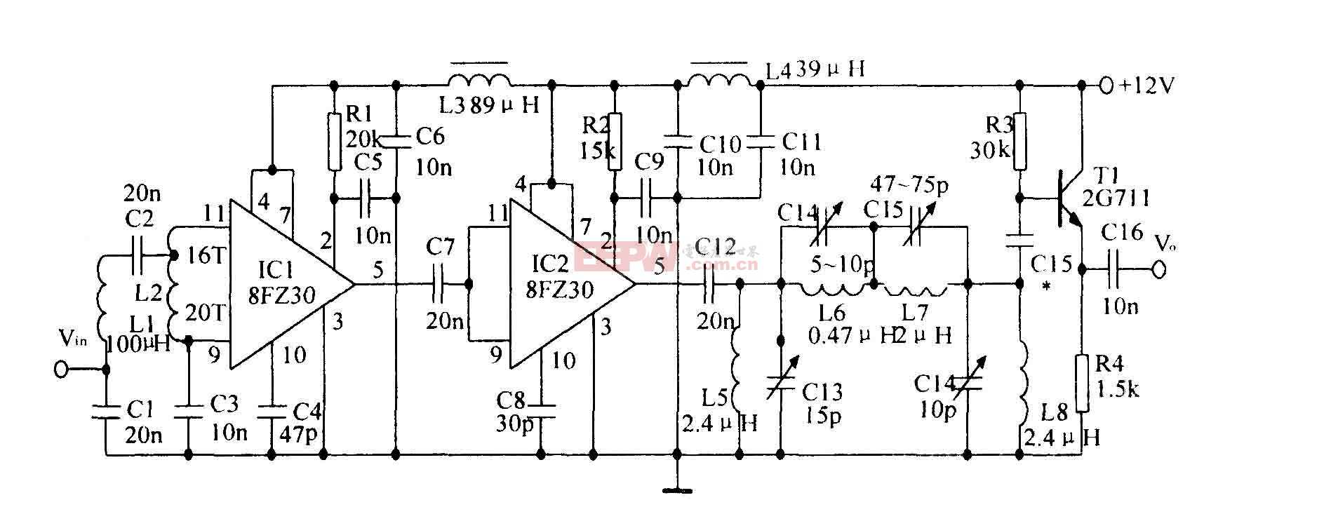 噪聲射頻一中頻放大電路圖