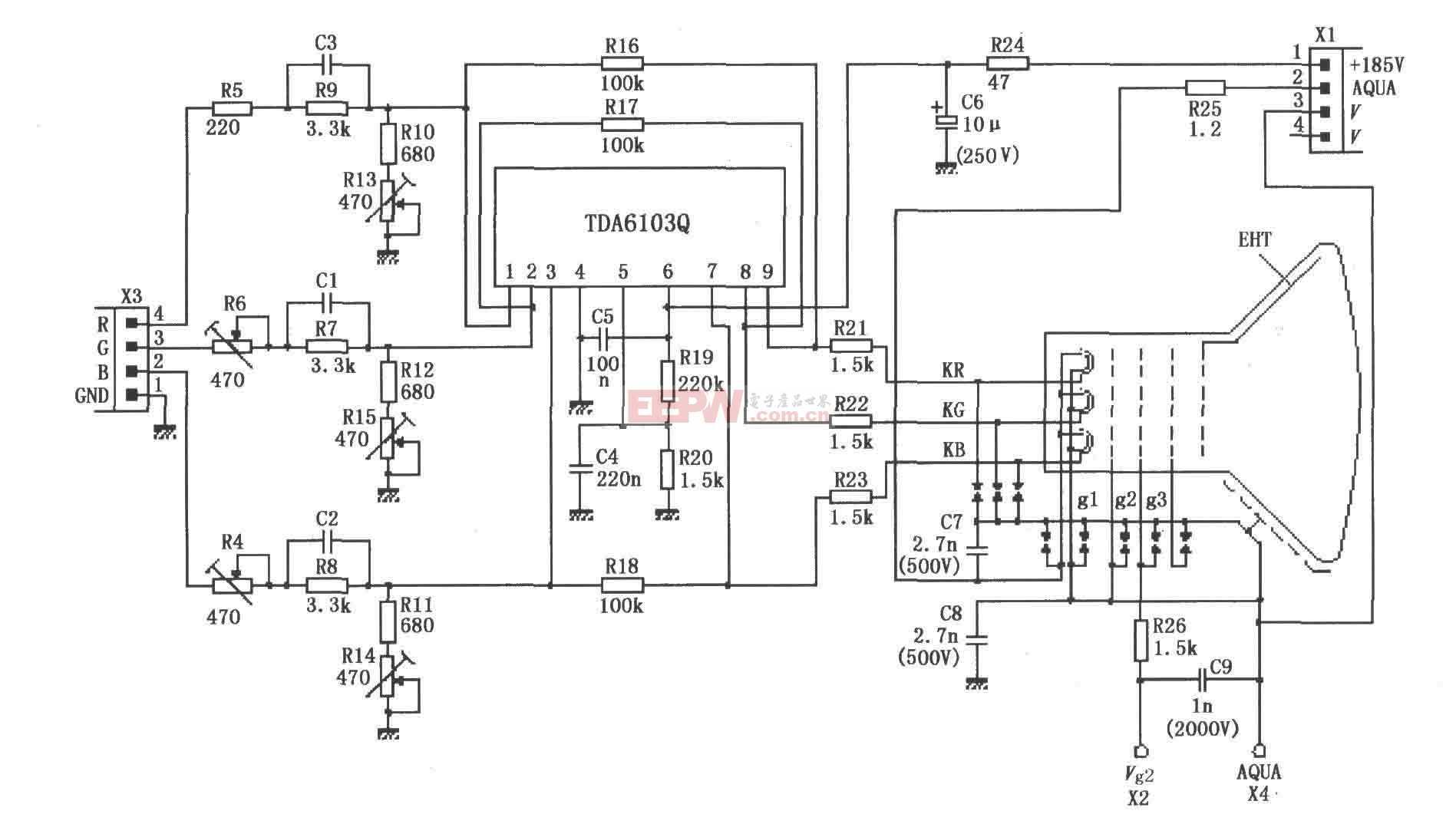 由TDA6103Q与彩色显像管构成的实际应用电路图