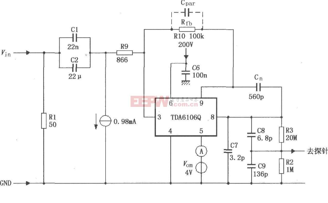 TDA6106Q的具有反馈因数1/116的测试电路图