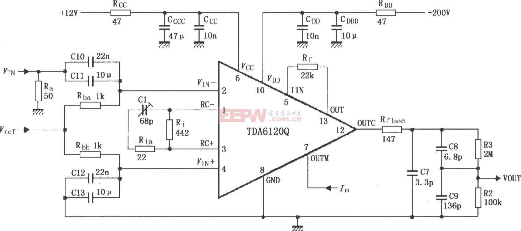TDA6120Q的具有反馈因数1/83的测试电路图