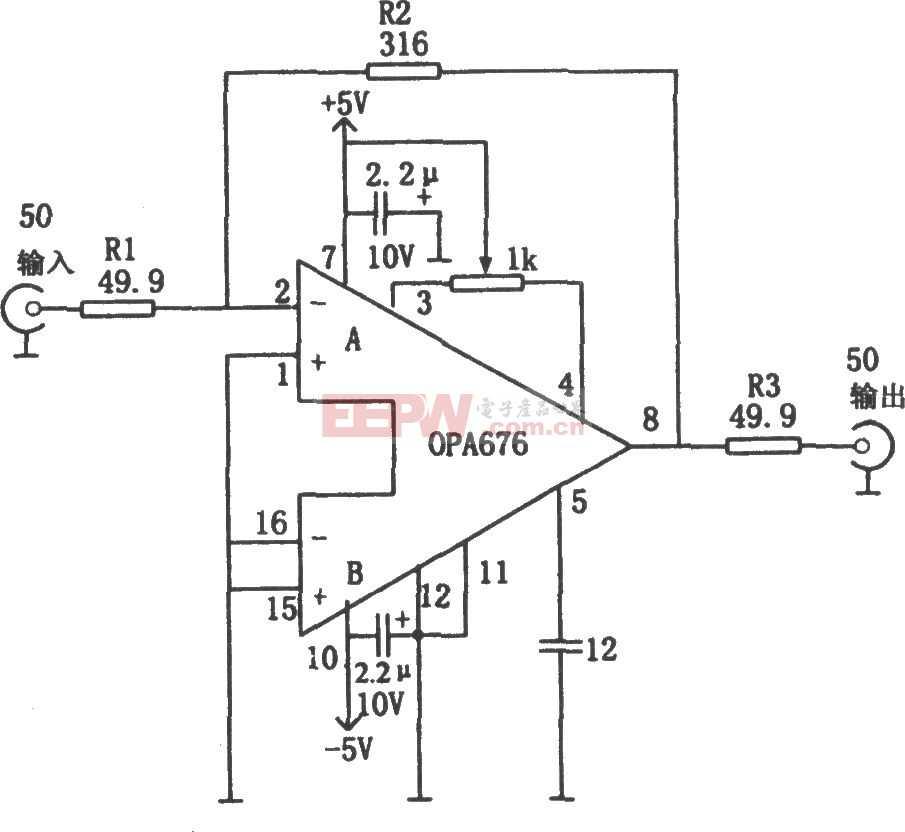 具有50Ω輸入/輸出阻抗的寬帶視頻放大器(OPA676)電路