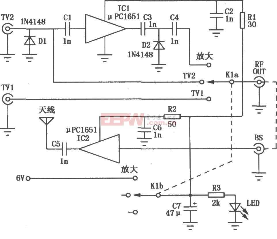 電視信號轉換放大電路圖