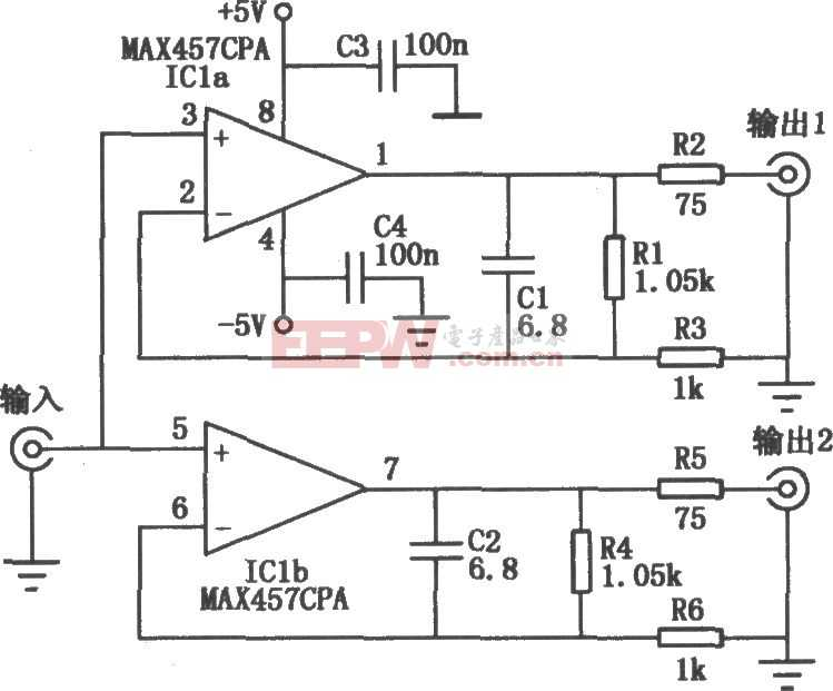 MAX457構成的雙路視頻放大電路圖