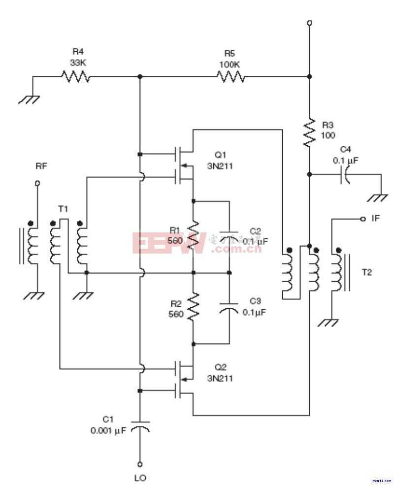 射频Mixer电路:Dual MOSFET mixer RF circuit