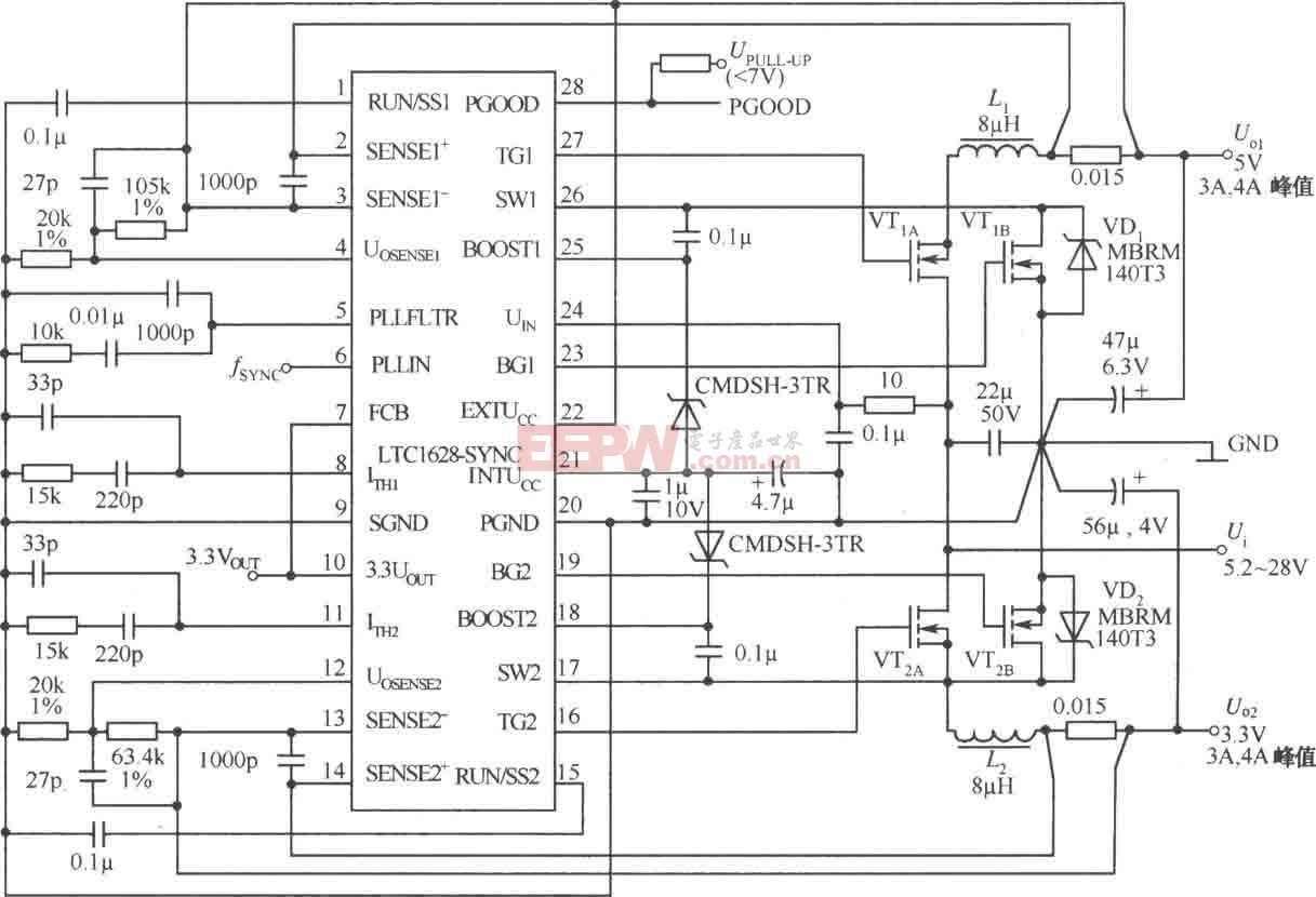 由 LTCl628-SYNC构成的5V/4A,3.3V/4A双路直流稳压电源