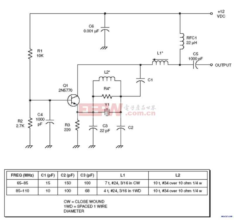 射频Oscillator电路:Higher overtone crystal oscillator RF circuit