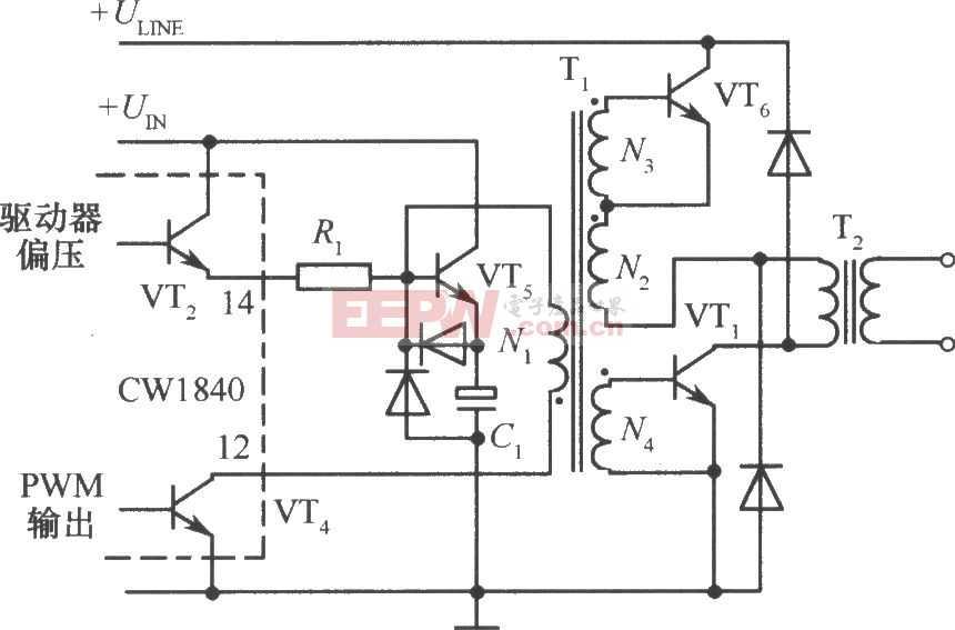 CW1840驱动双极晶体管的单端正激变换式开关稳压电路