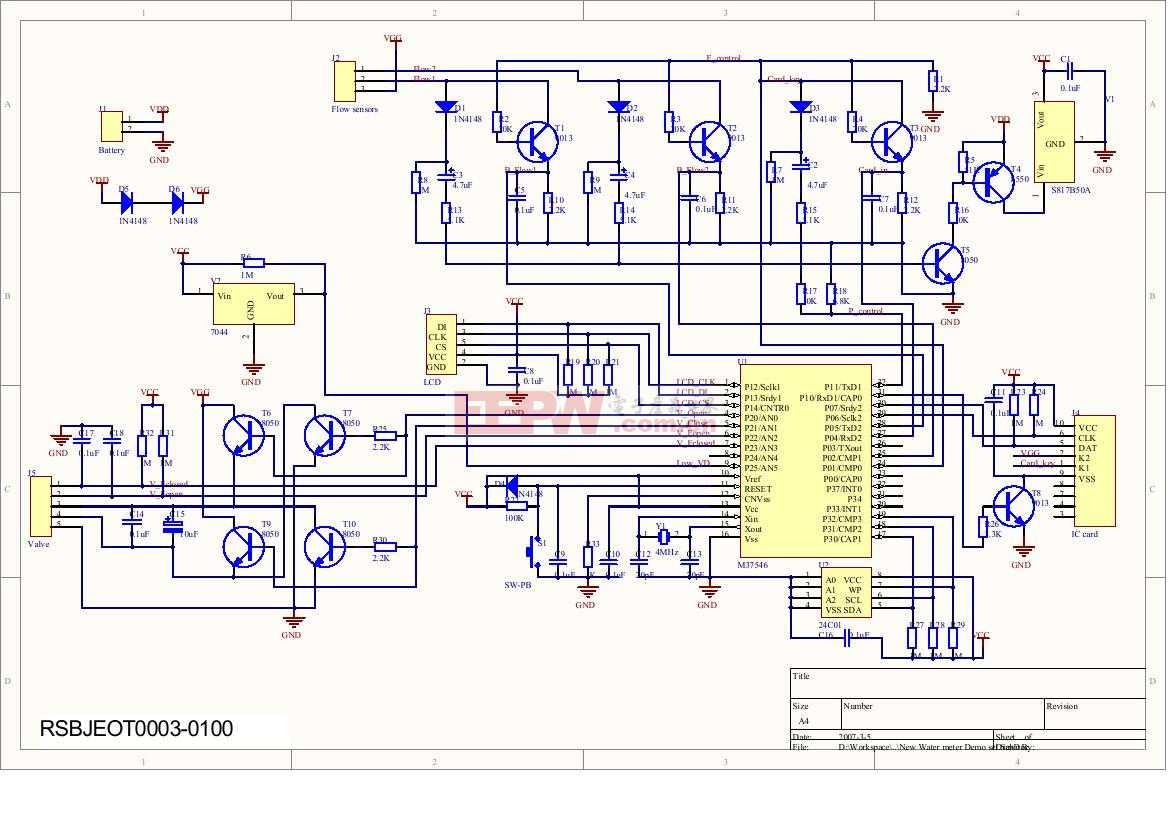 M37546智能水表MCU电路板电路图