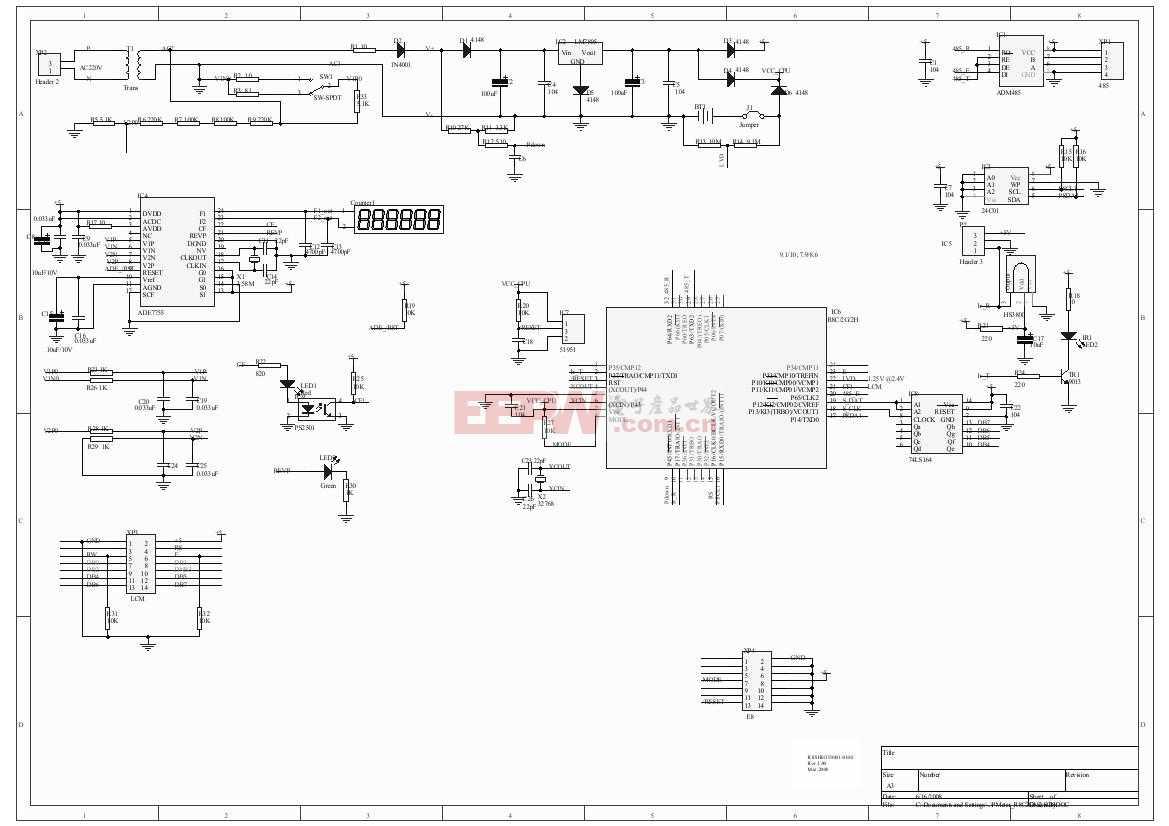 R8C/2G电表MCU电路板电路图