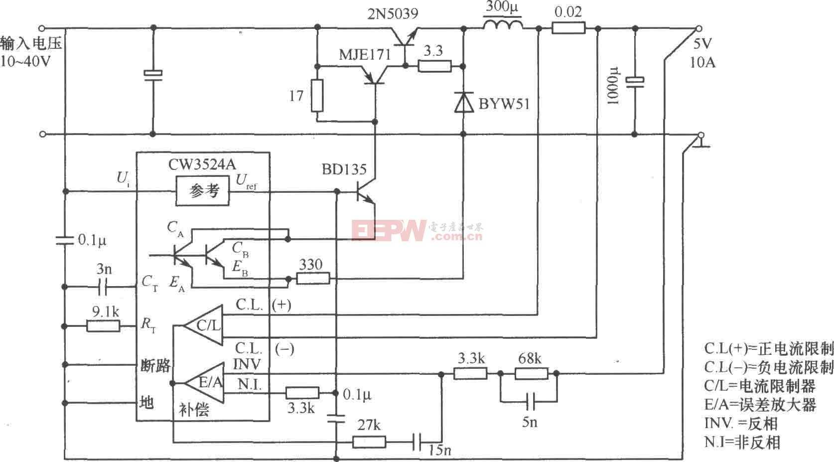 由CW1524A组成的降压斩波式开关稳压电源电路